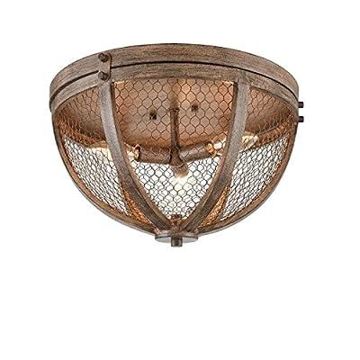 Danxu Lighting Vintage Flush Mount 3-Lights Wood Grain Metal Cage 3 Light Flush-mount Ceiling Light