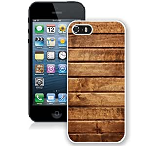 NEW Unique Custom Designed iPhone 5S Phone Case With Wood Planks Horizontal Texture_White Phone Case