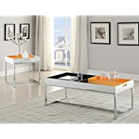 HomeRoots Furniture 285745-OT White and Chrome End Table, Multicolor