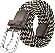 JUKMO Men's Elastic Braided Belt, Stretch Woven Belt in Gift