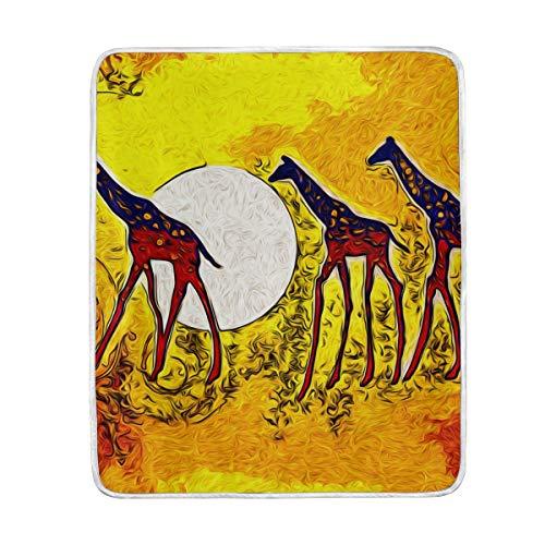 DOSHINE Couvre-lit, Vintage rétro Africain Animal Girafe Doux léger Warmer couvertures 127 x 152,4 cm pour canapé lit Chaise de Bureau