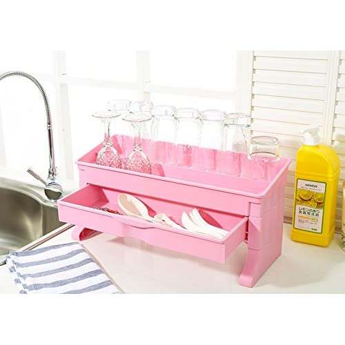 on sale Egoelife DIY 2 Tier Plastic Bathroom Kitchen Stackable Storage Rack Shelf Bottle Storage Cabinet Organizer with a Drawer (Pink)