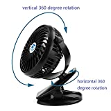 Clip And Table Fan Small Portable Rechargeable USB Personal Fans (black color)