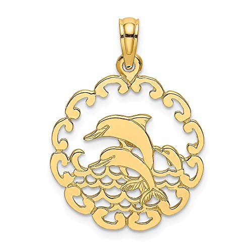 14K Yellow Gold Cut-Out Jumping Dolphins Charm Pendant ()