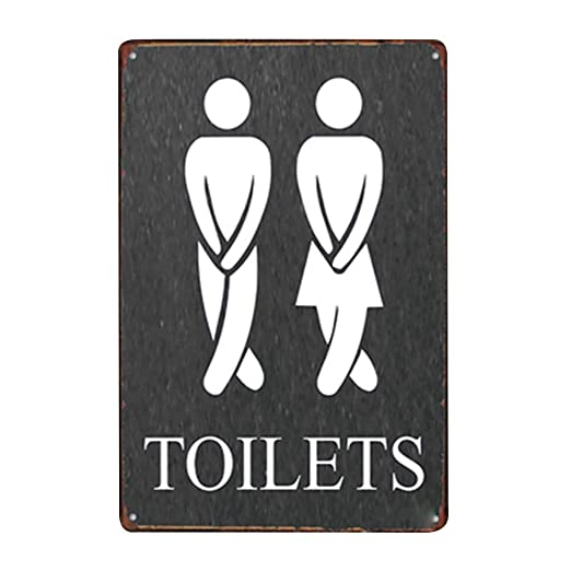 Doitsa 20x30cm Señal de Toilets, Cartel de Chapa Placa Metal, Tin Sign Pared Señal Placa Decoración Bar Hotel WC