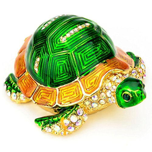 Swarovski Turtle Crystal (Lilly Rocket Collectible Trinket Box with Rhinestone Bejeweled Swarovski Crystals - Green Turtle)