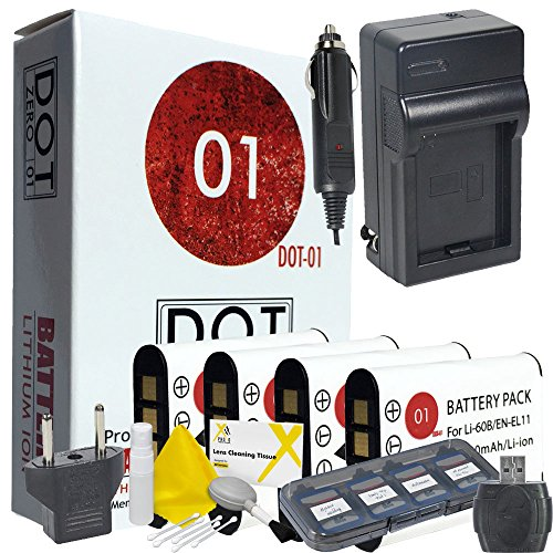 60b Bundle (DOT-01 4x Brand 1200 mAh Replacement Olympus LI-60B Batteries and Charger for Olympus FE-370 Digital Camera and Olympus LI60B Accessory Bundle)