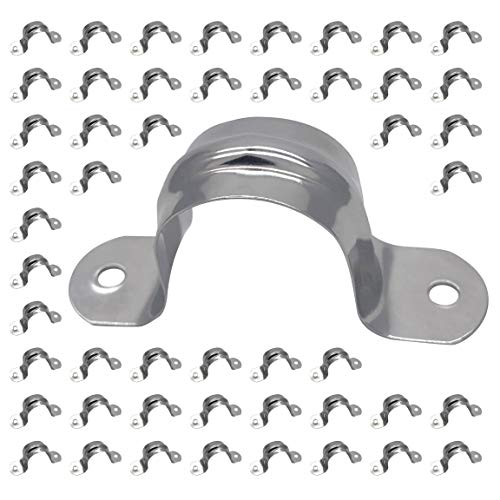 3/4inch Rigid Pipe Strap Clamp, Two Hole Strap,U Bracket Tube Clip, Stainless Steel Heavy Duty Pipe Fasten Holder, 50Pcs (25mm)