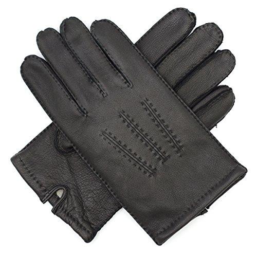 - Harssidanzar Mens Deerskin Leather Gloves Cashmere Lined Vintage Finished, Black, S