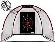 Champkey Upgraded TEPRO 10' x 7' Golf Hitting Net   5 Ply-Knotless Netting with Impact Target Golf Pra