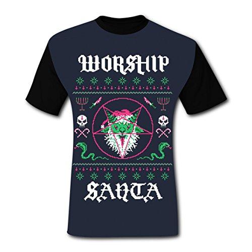 LZQ Tshirt Man 100% Cotton New Funny Tee Clothing 3D Making With Worship Santa For Men -