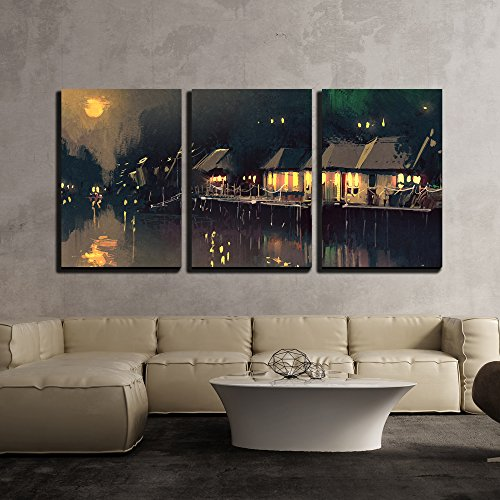 wall26 - 3 Piece Canvas Wall Art - Illustration - Village Beside River,Night Scene Landscape,Illustration - Modern Home Decor Stretched and Framed Ready to Hang - 16