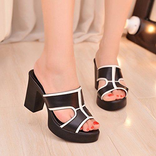 Easemax Dames Trendy Uitgesneden Stiksels Peep Toe Geen Sluiting Platform Hoge Dikke Hak Mule Sandalen Zwart