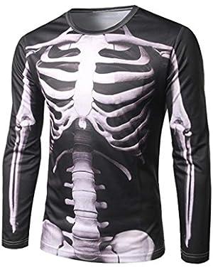 Fashion Mens Print Slim Fit Casual Shirt T-Shirt Long Sleeve T-Shirts Tops