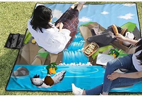 Nonebrand, coperta da picnic con due anatre che giocano nell'acqua, lavabile, pieghevole, impermeabile, per picnic, campeggio, spiaggia, dimensioni grandi 57 x 59 cm
