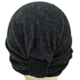 Soft Terry Cloth Turban Head Cover with Reversible Knot or Button Front - Black