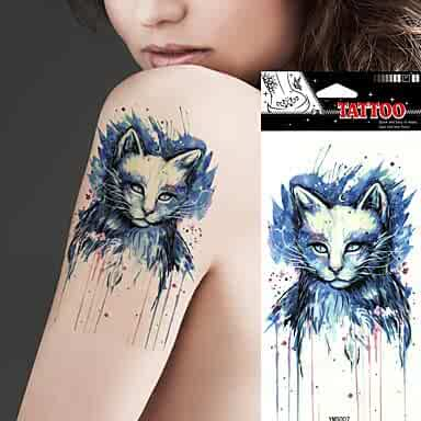 67d440d571a22 5 Pcs Waterproof Beauty Blue Colored Drawing Cat Picture Design Temporary  Tattoo Stickers