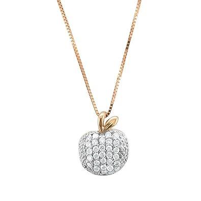 Amazon 10k rose pink gold apple diamond pendant necklace 025 10k rose pink gold apple diamond pendant necklace 025 carat aloadofball Image collections