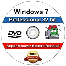 Windows 7 Professional 32-Bit Install | Boot | Recovery | Restore DVD Disc Disk Perfect for Install or Reinstall of Windows