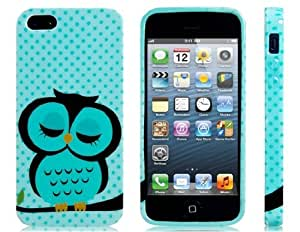 Sleeping Owl Printed Silicone Glittery Protective Case for iPhone 5