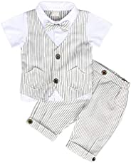 MetCuento Baby Boys Gentleman Outfit Bowtie Romper Jumpsuit with Hat Wedding Birthday Suit