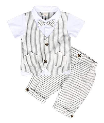 AmzBarley Gentleman Abiti Bambini Formale Camicia Pantaloni Giubbotto Cravatta Set di Vestiti Bimbo Ragazzi per Festa… 1