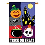 Cheap Two Group – Trick or Treat Night Fall – Seasonal Halloween Applique Decorative Vertical House Flag 28″ x 44″
