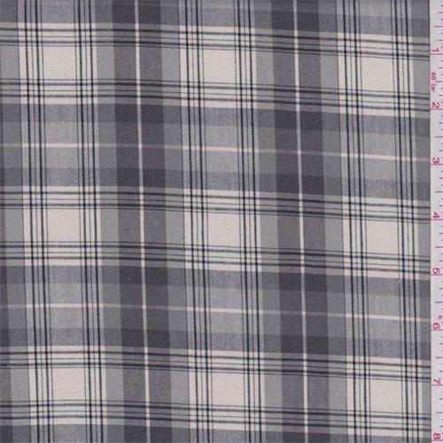 Grey/Beige Plaid Shirting, Fabric By the Yard