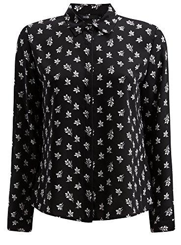 oodji Ultra Mujer Blusa de Tejido Fluido Negro (2912F)