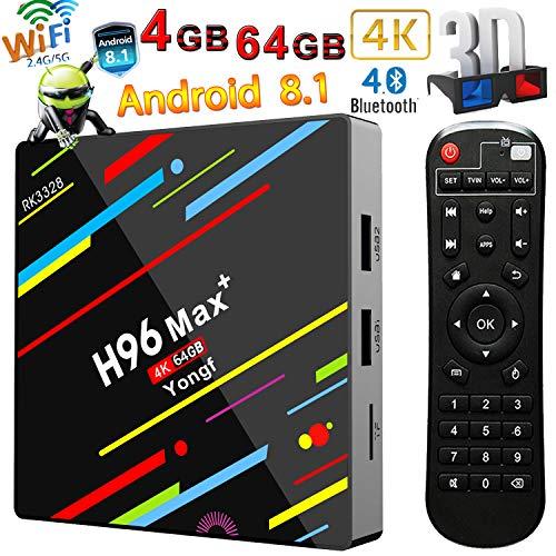 Android 8.1 TV Box, Yongf H96 MAX+ Quad Core 4GB+64GB Smart TV Box RK3328 H.265 Support BT4.1 USB3.0 WIFI 3D 4K Full HD Steaming Media Player