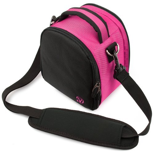 VanGoddy Laurel Carrying Bag for Olympus E-5 / E-30 Mid Size Digital SLR Cameras + Mini Tripod + Screen Protector (Hot Pink)