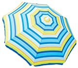 Rio Brands Palm Islands Stripe Beach Umbrella with Sun Block, Blue/Green