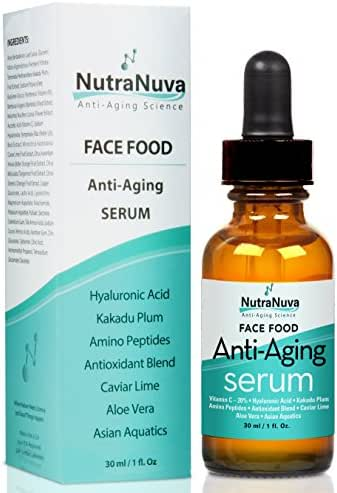 NutraNuva Face Food Anti Aging Natural Serum Complex VEGAN Formula, Kakadu Plum, Hyaluronic Acid, Peptides, AHA's, Aquatic Plants, Aloe and more for Wrinkles, Age Spots, More Collagen,1 fl. Oz