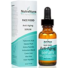 NutraNuva Face Food Anti Aging Natural Serum Complex with 20% C, Kakadu Plum, Hyaluronic Acid, Peptides, AHA's, Aquatic Plants, Aloe and more for Wrinkles, Age Spots, More Collagen,1 fl. Oz