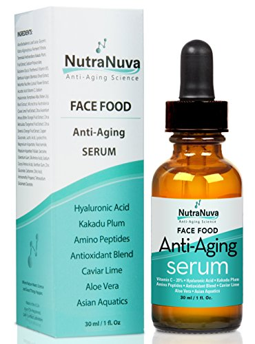 NutraNuva Face Food Anti Aging Natural Serum Complex VEGAN Formula, Kakadu Plum, Hyaluronic Acid, Peptides, AHA's, Aquatic Plants, Aloe and more for Wrinkles, Age Spots, More Collagen,1 fl. Oz ()