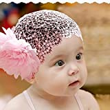 Toddlers Baby Girls Crochet Flower Princess Headband Lace Hairdress (pink)