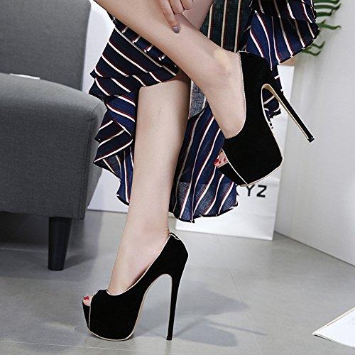 Scarpe Basse Easemax Da Donna Sexy In Ecopelle Scamosciata Con Plateau E Tacco A Spillo Tacco Alto Scarpe Basse Nere
