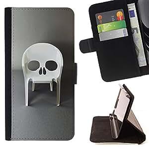 Momo Phone Case / Flip Funda de Cuero Case Cover - Diseño de la silla Muebles cráneo del vampiro - Samsung Galaxy A3
