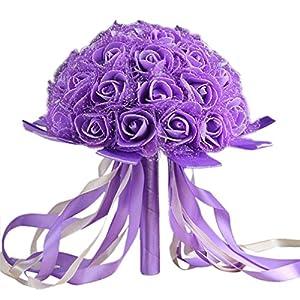 Wedding Bouquet ,YJYdada Crystal Ribbon Roses Bridesmaid Wedding Bouquet Bridal Artificial Silk Flowers 2