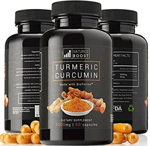 TURMERIC CURCUMIN - Turmeric 1000mg + Black Pepper Bioperine | Supplement with Advanced Absorption Natural Anti-inflammatory Knee Back Joint Support & Pain Relief from Arthritis Vegan Capsules