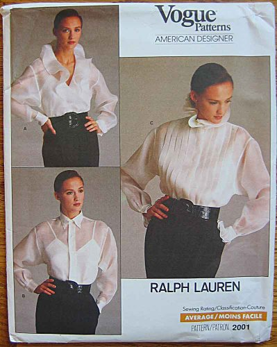 Vogue 2001 Sewing Pattern, Designer Ralph Lauren Misses Blouse and Camisole, Size -
