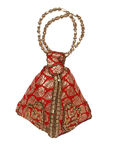 Hand Color Beads with Bag Bag Brocade Potli Red Wristlet Bangle wCp66q