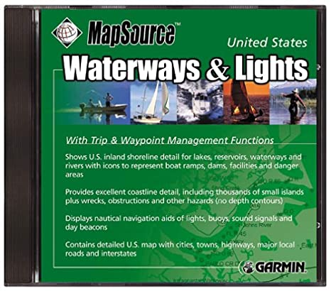 Amazon Com Garmin Us Waterways And Lights Cd Rom For Street Pilot Emap Map 12 Gps Iii Gps 48 Cell Phones Accessories