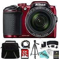 Nikon COOLPIX B500 RED 16MP 40x Optical Zoom Digital Camera 32GB Bundle includes Camera, Bag, 32GB Memory Card, Reader, Wallet, AA Batteries + Charger, HDMI Cable, Tripod, Liquid Deals Cloth and More by Liquid Deals