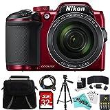Nikon COOLPIX B500 RED 16MP 40x Optical Zoom Digital Camera 32GB Bundle includes Camera, Bag, 32GB Memory Card, Reader, Wallet, AA Batteries + Charger, HDMI Cable, Tripod, Liquid Deals Cloth and More