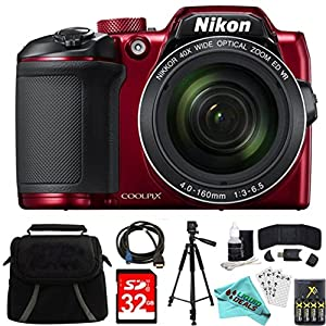 Nikon COOLPIX B500 RED 16MP 40x Optical Zoom Digital Camera 32GB Bundle includes Camera, Bag, 32GB Memory Card, Reader, Wallet, AA Batteries + Charger, HDMI Cable, Tripod, Liquid Deals Cloth and More