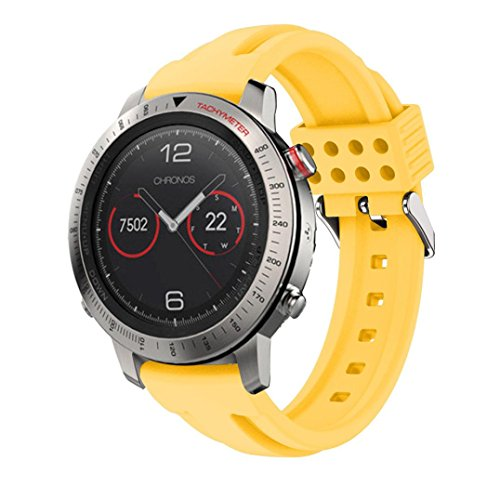 (Outsta For Garmin Fenix Chronos GPS Watch Replacement Silicone Soft Band Strap Yellow )