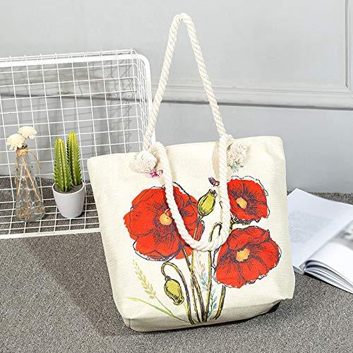 De Bolsos Aikesi Flores Mariposas Lino Bolso Tote Mujer Bandolera Shopper wvtv1