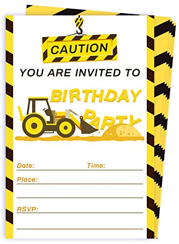 30 Construction Dump Trucks Birthday Party Invitations with Envelopes-Kid Construction Birthday Party Supplies]()
