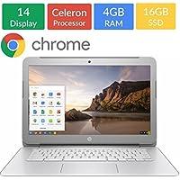 HP 14-inch Chromebook HD SVA (1366 x 768) Display, Intel Dual Core Celeron N2840 2.16GHz, 4GB DD3L RAM, 16GB eMMc Hard Drive, Stereo speakers, HD Webcam, Google Chrome OS (Certified Refurbished)